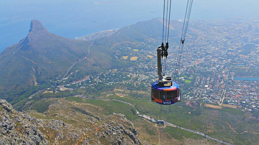 Cable Car as seen from the India Venster, Table Mountain