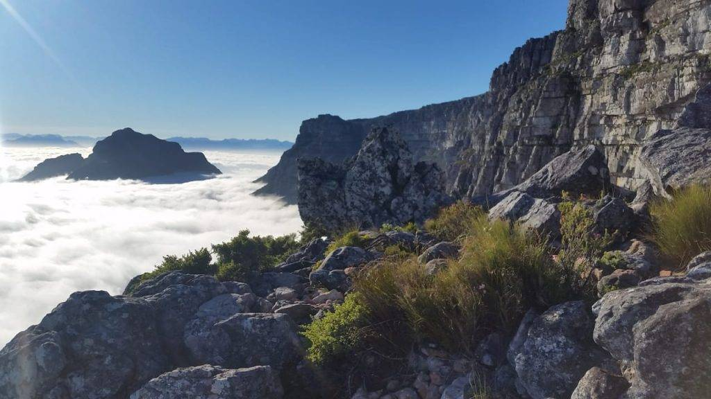 Table Mountain towering above the fog over Cape Town