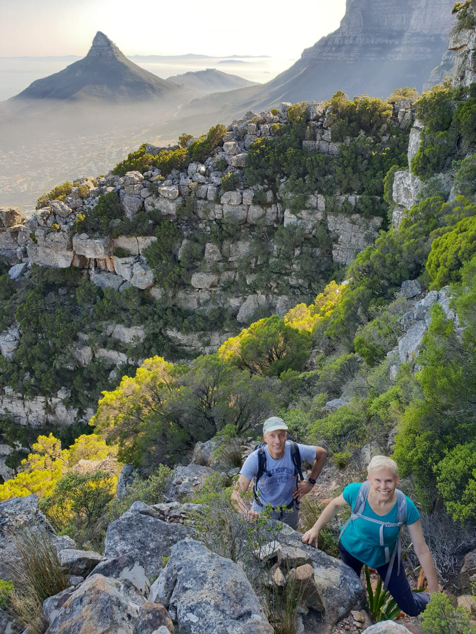 Magic morning views over Lion's Head, on the Wood Buttress