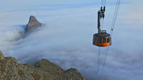 Cable Car in fog as seen from the India Venster.