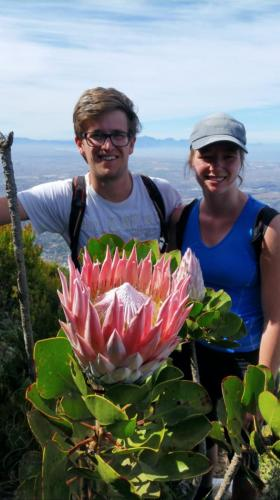 Two young Germans enjoying the Cape Town weather and the mountain. This is on Devil's Peak.
