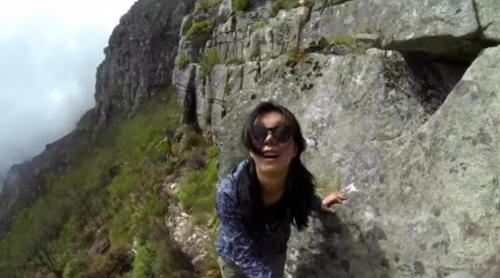 Yi-Jia Susanne Hou on the Arrow Face Traverse on Table Mountain.