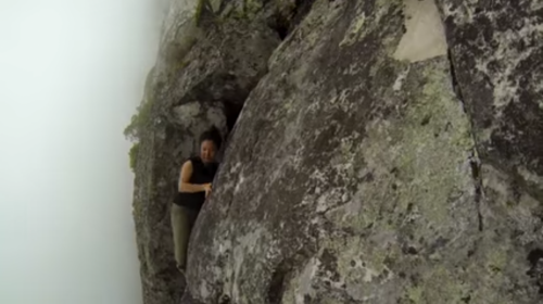 Yi-Jia Susanne Hou on the Arrow Face Traverse ledge.