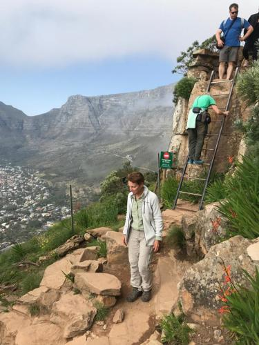 The way down Lion's Head had some views over Table Mountain.Löwenkopf, Kapstadt.